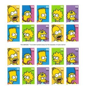 Simpsons Sheet of 20x44 cent stamps USA 2009